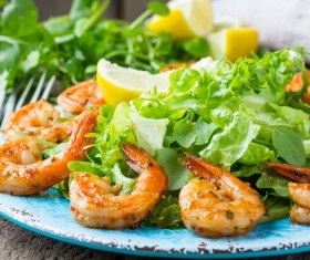Delicious grilled shrimp with vegetables Stock Photo