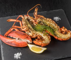 Delicious lobster with lemon spices Stock Photo 02