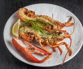 Delicious lobster with lemon spices Stock Photo 03