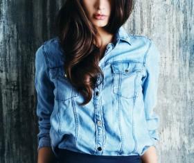 Denim clothing beautiful woman Stock Photo 05