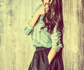 Denim clothing beautiful woman Stock Photo 06
