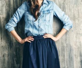 Denim clothing beautiful woman Stock Photo 07