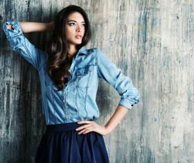 Denim clothing beautiful woman Stock Photo 08
