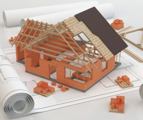 Design house model with drawings HD picture
