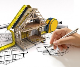 Design house model with drawings, designer HD picture