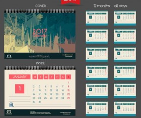 Desk 2017 calendar cover and inside template vector 01