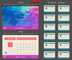 Desk 2017 calendar cover and inside template vector 02