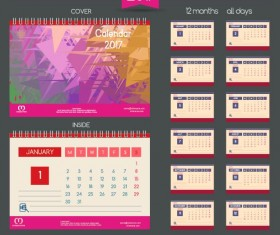 Desk 2017 calendar cover and inside template vector 03