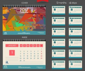 Desk 2017 calendar cover and inside template vector 07