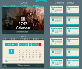 Desk 2017 calendar cover and inside template vector 08