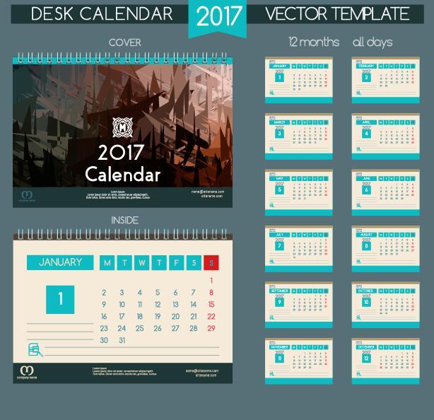 Desk 2017 calendar cover and inside template vector 08