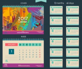 Desk 2017 calendar cover and inside template vector 09