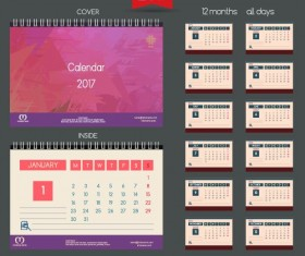 Desk 2017 calendar cover and inside template vector 10