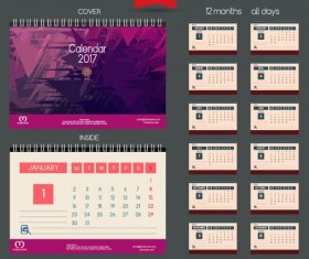 Desk 2017 calendar cover and inside template vector 11