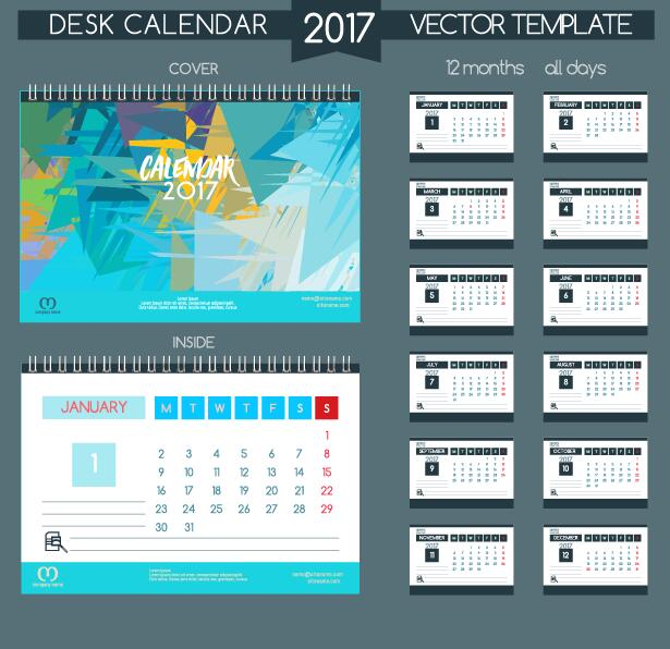 Desk 2017 calendar cover and inside template vector 12