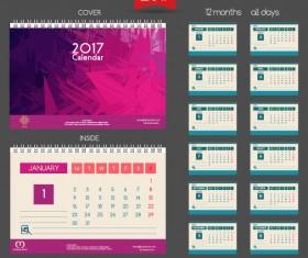 Desk 2017 calendar cover and inside template vector 13