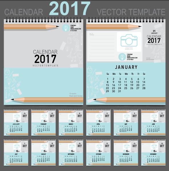 Desk 2017 calendar cover and inside template vector 14