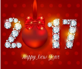 Diamond 2017 new year design with red background vector
