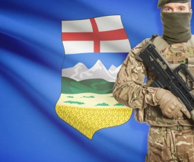 Different flags and armed soldiers Stock Photo 01