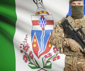 Different flags and armed soldiers Stock Photo 02
