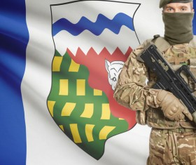 Different flags and armed soldiers Stock Photo 03