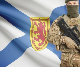 Different flags and armed soldiers Stock Photo 04