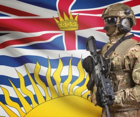 Different flags and armed soldiers Stock Photo 05