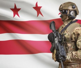 Different flags and armed soldiers Stock Photo 07