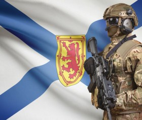 Different flags and armed soldiers Stock Photo 08