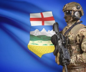 Different flags and armed soldiers Stock Photo 09