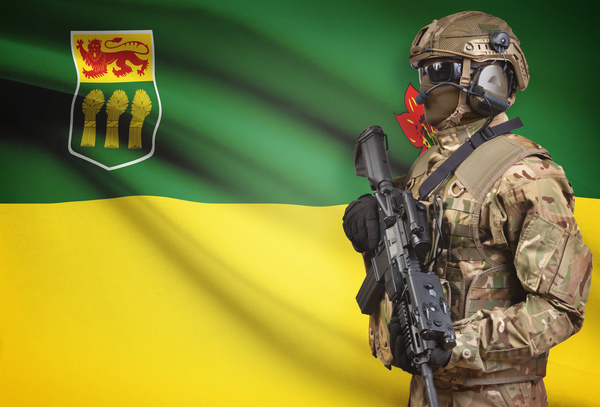 Different flags and armed soldiers Stock Photo 12