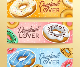 Doughnut banners design vector set 01