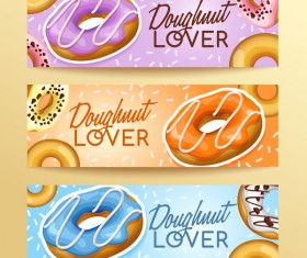 Doughnut banners design vector set 02