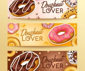 Doughnut banners design vector set 03