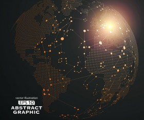 Earth and technology abstract vector illustration 04