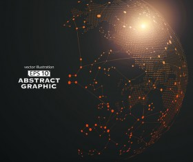 Earth and technology abstract vector illustration 05