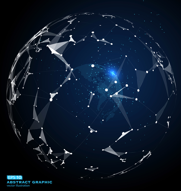 Earth and technology abstract vector illustration 08