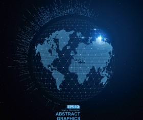Earth and technology abstract vector illustration 09