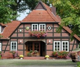 European farm houses Stock Photo