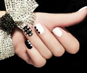 Fashion black and white nail Stock Photo
