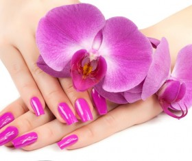 Fashion nail and orchids Stock Photo