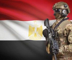 Flag of the Arab Republic of Egypt and Armed Soldiers