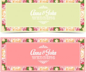 Flower wedding invitation card vector template