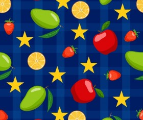 Fruits with stars seamless pattern vector