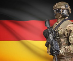 German flag and armed soldiers HD picture