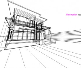 Glass house structure architecture vector illustration 02