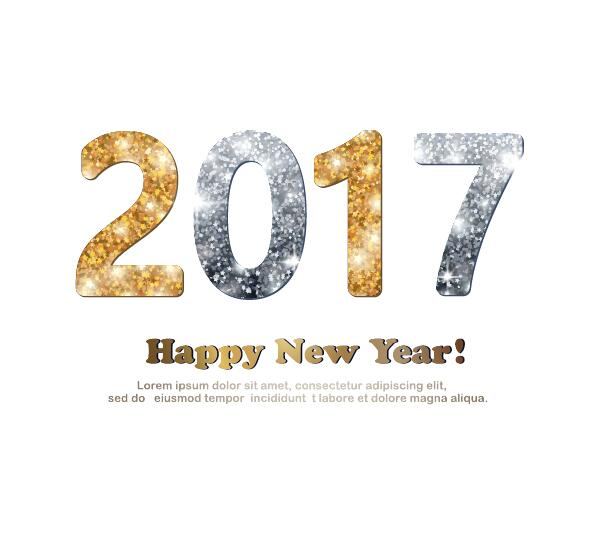 gold and silver glitter 2017 new year design with white background vector