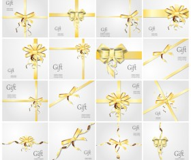 Gold ribbon bow with gift card vector