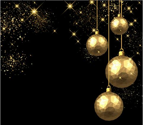 Golden Christmas Ball With Black Background Vector 01