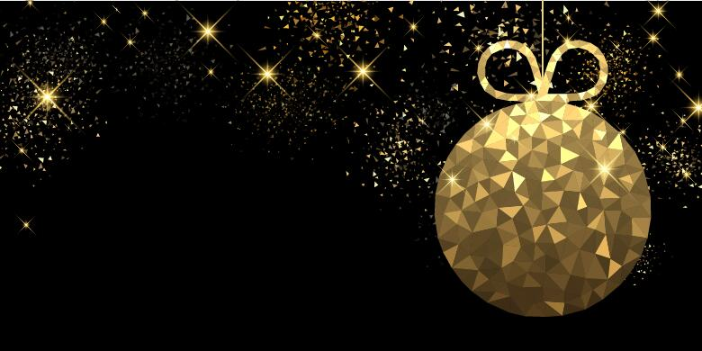 Free Illustration Background Christmas Red Gold: Golden Christmas Ball With Black Background Vector 02 Free
